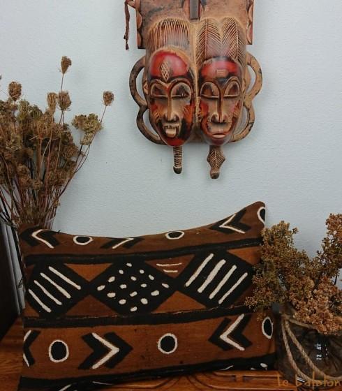housse de coussin ethnique africain bogolan